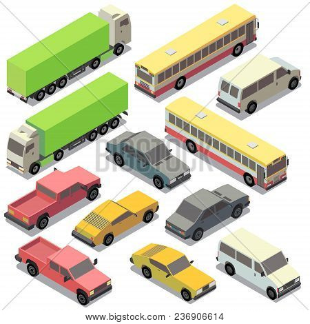 Vector Set Of Isometric Urban Transportation. Cars With Shadows Isolated On White Background. Truck,