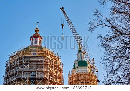 Reconstruction Of The Orthodox Cathedral At Golden Hour Under The Sunlight