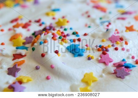 Confectionary Glaze, Top With Confectionery Decoration. Easter Cake Decorated With Asterisks And Bal
