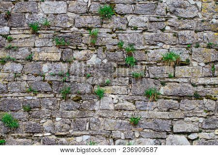 Abstraction Wall Fence Built Of Natural Stone Background.