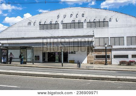 Curitiba, Pr, Brazil, January 03, 2018. Facade Of The Municipal Market Of Curitiba, In The Central R