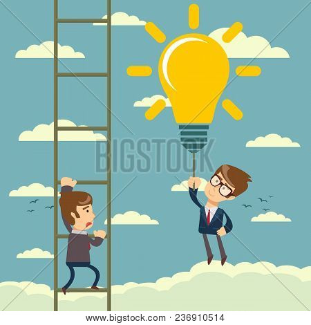 Happy Businessman Holding Idea Bulbs As Balloons Flying Pass Another Businessman Climbing A Ladder.