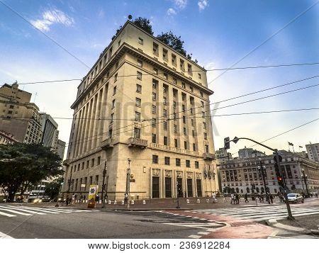 Sao Paulo, Brazil, February 08, 2018. Anhangabau Palace Or Matarazzo Building, City Hall In Sao Paul
