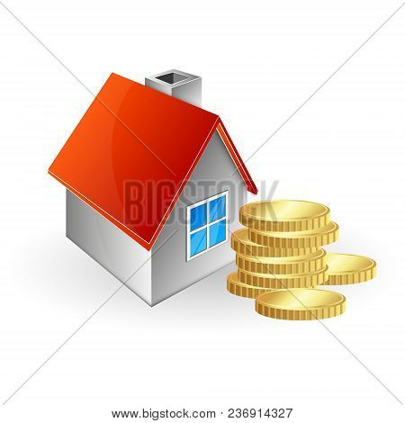 House And Stack Of Coins Vector Logo