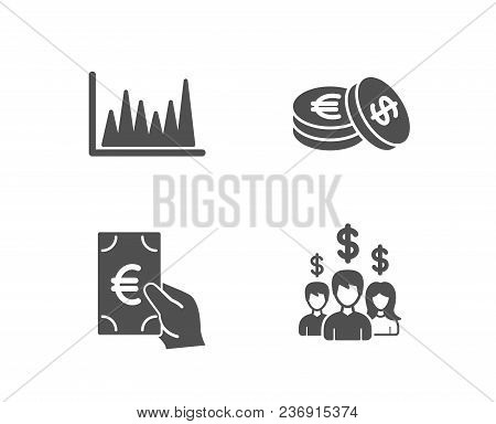Set Of Line Graph, Finance And Savings Icons. Salary Employees Sign. Market Diagram, Eur Cash, Cash