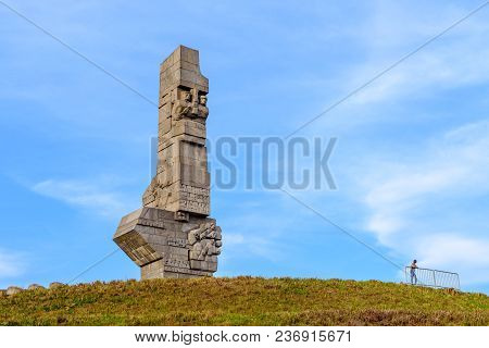 Gdansk Westerplatte, Poland - April 15, 2018: Westerplatte Monument In Memory Of The Polish Defender