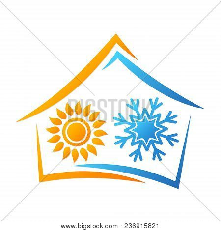 House Sun And Snowflake Air Conditioning Symbol For Business
