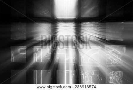 Dramatic Light Beams Through Window Glass Background Hd
