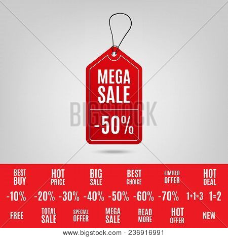 Red Sale Tag 3d. Vector Red Sale Tags With Different Promotional Texts. Vector Illustration Eps 10