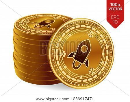 Stellar. Crypto Currency. 3d Isometric Physical Coins. Digital Currency. Stack Of Golden Coins With