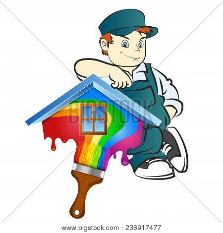 Painter With Brush For Painting At Home Illustration