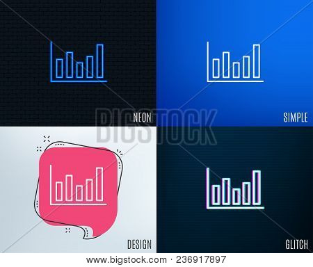 Glitch, Neon Effect. Column Chart Line Icon. Financial Graph Sign. Stock Exchange Symbol. Business I