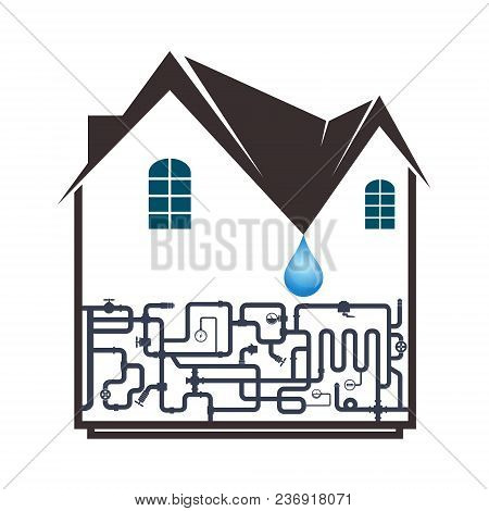 Plumbing And Piping In The House Symbol Business