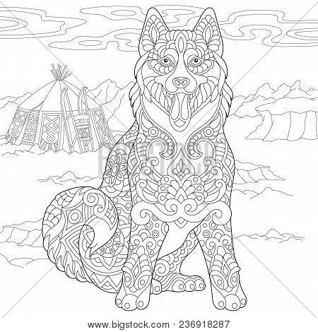 Alaskan Malamute Or Siberian Husky. Eskimo Dog Coloring Page. Adult Coloring Book Idea. Antistress F