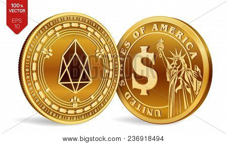 Eos. Dollar Coin. 3d Isometric Physical Coins. Digital Currency. Cryptocurrency. Golden Coins With E