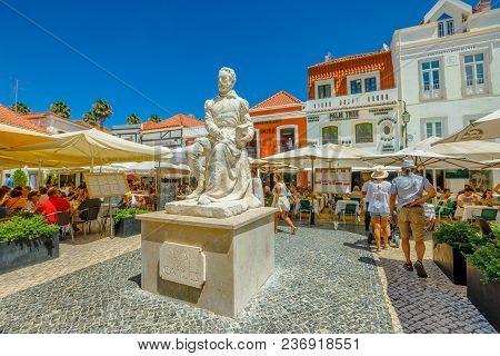 Cascais, Portugal - August 6, 2017: Monument Of Portuguese Poet Luis De Camoes On Largo Luis De Camo