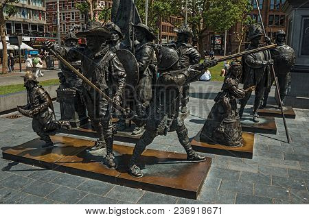 Amsterdam, Northern Netherlands - June 26, 2017. Rembrandt Square With Sculptural Reproduction In Br