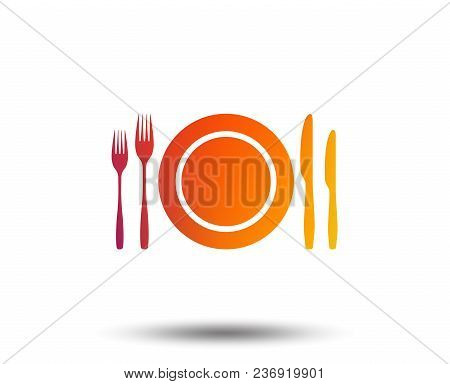 Plate Dish With Forks And Knifes. Eat Sign Icon. Cutlery Etiquette Rules Symbol. Blurred Gradient De