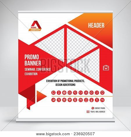 Roll-up Banner Template, Exhibition Stand Design, Layout For Photo And Text, Banner For Conference,