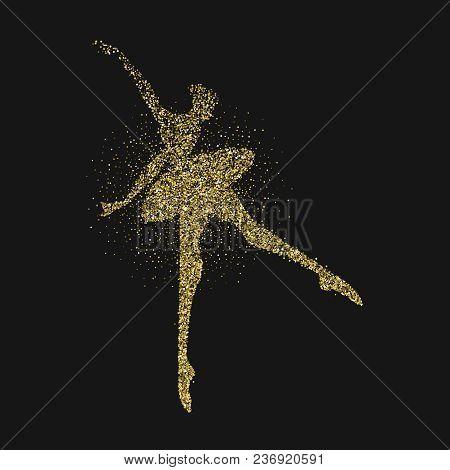 Ballet Dancer Girl Silhouette Gold Glitter Splash