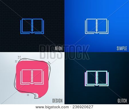 Glitch, Neon Effect. Book Line Icon. Education Symbol. Instruction Or E-learning Sign. Trendy Flat G