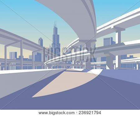 Highway overpass and city skyline in sun light. Modern urban life conceptual  illustration