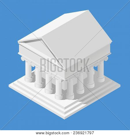 White classic antique isometric building isolated on blue