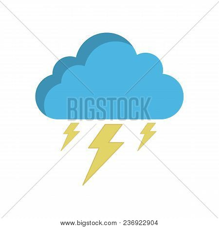 Storm Cloud Icon In Flat Style, Isolated On White Background. Rainstorm Symbol For Your Web Site Des
