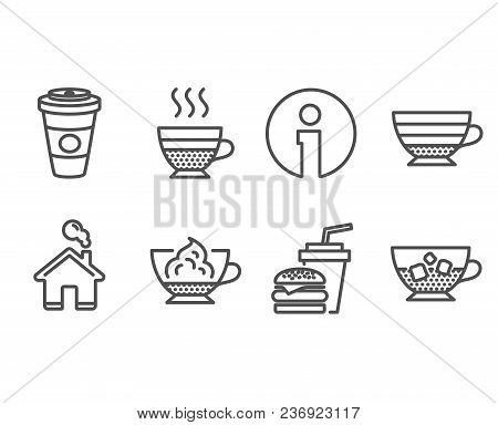 Set Of Cafe Creme, Cappuccino And Hamburger Icons. Takeaway Coffee, Espresso Cream And Cold Coffee S