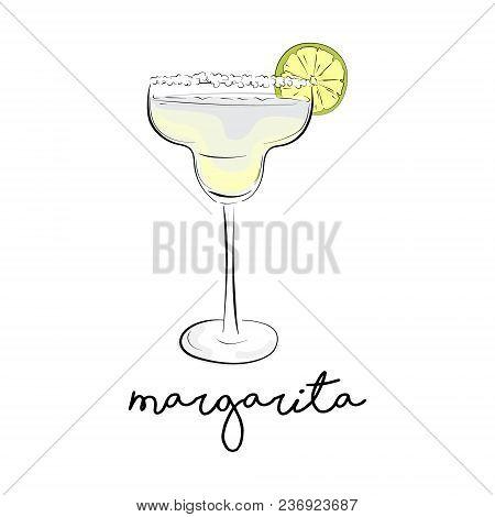 Vector Summer Cocktail. Margarita Alcohol Drink. Cosmopolitan Froozen Liquor In Glass. Green Juice B