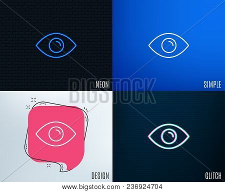 Glitch, Neon Effect. Eye Line Icon. Look Or Optical Vision Sign. View Or Watch Symbol. Trendy Flat G