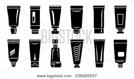 Tube Paste Storage Container Icons Set. Simple Illustration Of 12 Tube Paste Storage Container Vecto