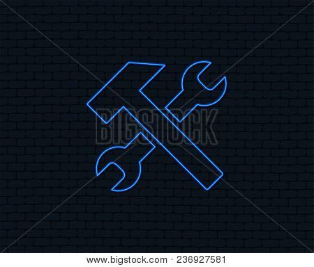 Neon Light. Repair Tool Sign Icon. Service Symbol. Hammer With Wrench. Glowing Graphic Design. Brick