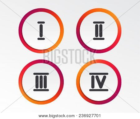 Roman Numeral Icons. 1, 2, 3 And 4 Digit Characters. Ancient Rome Numeric System. Infographic Design
