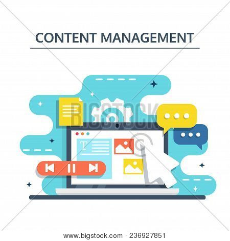 Content Management, Smm And Blogging Concept In Flat Design. Creating, Marketing And Sharing Of Digi
