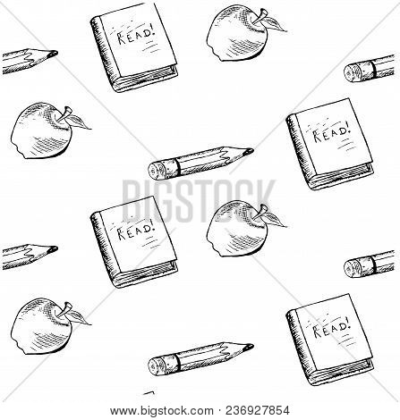 Seamless School Objects Background. Ink Monochrome Sketch Doodle Apple, Pencil, Book On White, Stock