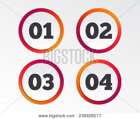 Step One, Two, Three And Four Icons. Sequence Of Options Symbols. Loading Process Signs. Infographic