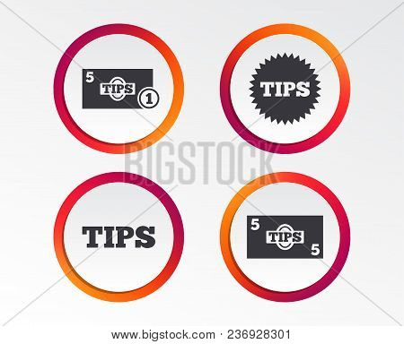 Tips Icons. Cash With Coin Money Symbol. Star Sign. Infographic Design Buttons. Circle Templates. Ve