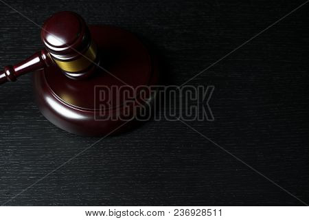 Judge Gavel On Black Wooden Background With Copy Space