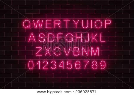 Glowing Neon Alphabet Font On Dark Brick Wall Background. Vector Neon Style Letters. You Can Made Yo