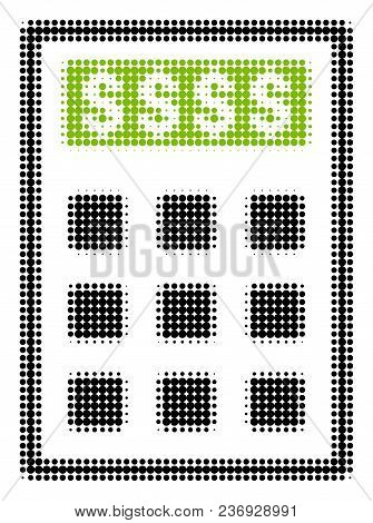 Book-keeping Calculator Halftone Vector Icon. Illustration Style Is Dotted Iconic Book-keeping Calcu