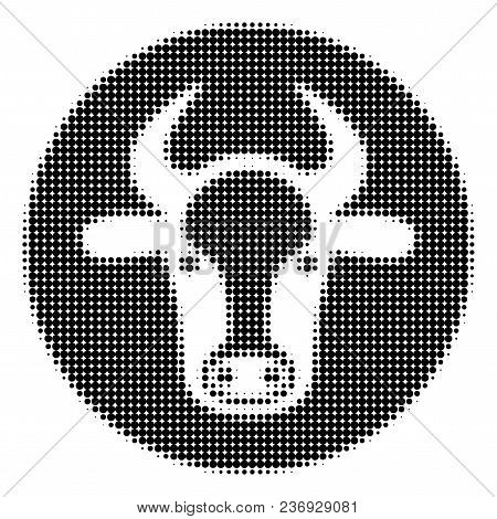 Bull Head Halftone Vector Icon. Illustration Style Is Dotted Iconic Bull Head Icon Symbol On A White
