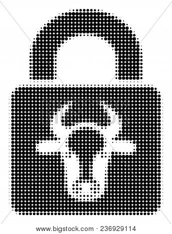Bull Lock Halftone Vector Pictogram. Illustration Style Is Dotted Iconic Bull Lock Icon Symbol On A