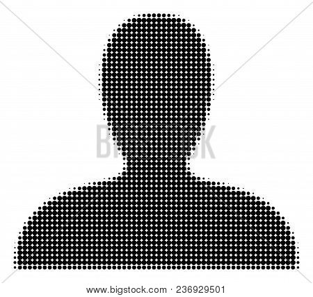 Client Halftone Vector Icon. Illustration Style Is Dotted Iconic Client Icon Symbol On A White Backg