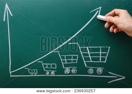 Human Hand Drawing Graph On Chalkboard Showing Increasing Shopping Cart