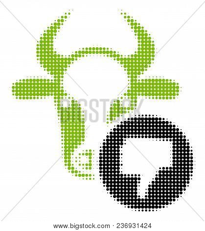 Cow Thumb Down Halftone Vector Icon. Illustration Style Is Dotted Iconic Cow Thumb Down Icon Symbol