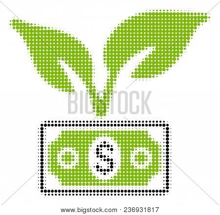 Eco Startup Gain Halftone Vector Pictogram. Illustration Style Is Dotted Iconic Eco Startup Gain Ico