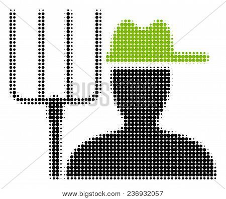 Farmer With Pitchfork Halftone Vector Icon. Illustration Style Is Dotted Iconic Farmer With Pitchfor