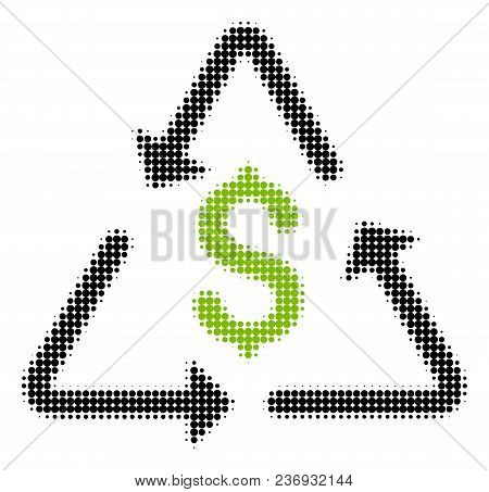 Financial Recycling Halftone Vector Icon. Illustration Style Is Dotted Iconic Financial Recycling Ic