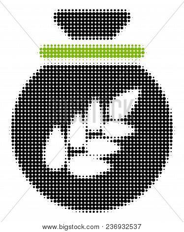 Grain Harvest Sack Halftone Vector Pictogram. Illustration Style Is Dotted Iconic Grain Harvest Sack